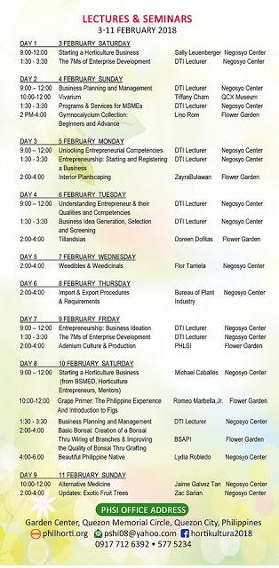 hortikultura lecture schedule